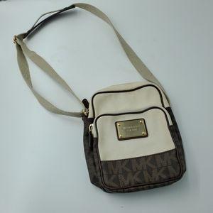 Michael Kors Crossbody Bag Canvas MK Logo Brown